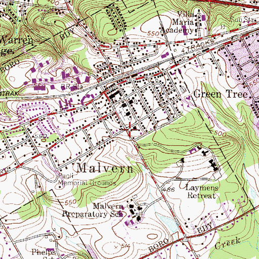 Topographic Map of Malvern Police Station, PA