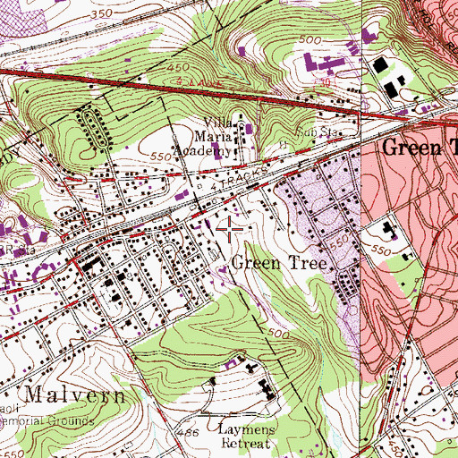 Topographic Map of Malvern Fire Company Station 4, PA
