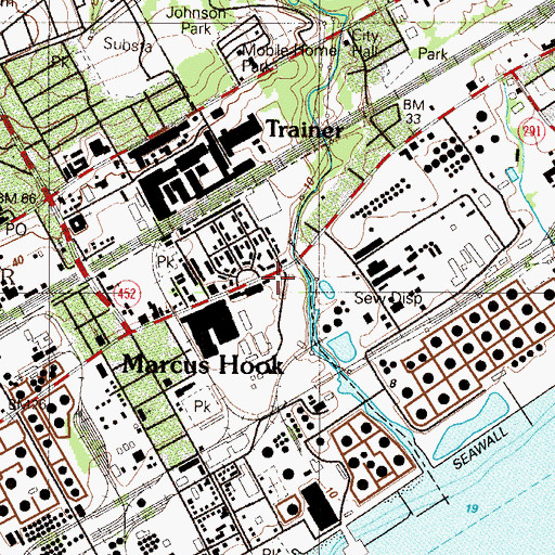 Topographic Map of Marcus Hook Trainer Fire Department Station 68, PA