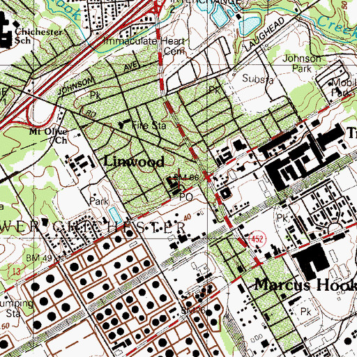 Topographic Map of Marcus Hook Police Department, PA