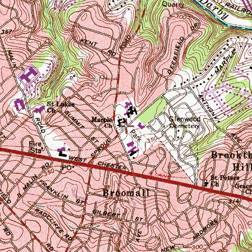 Topographic Map of Marple Hill Cemetery, PA