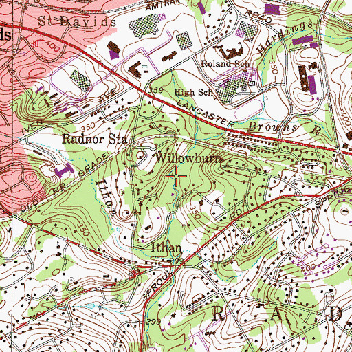 Topographic Map of Martha Brown Woods, PA