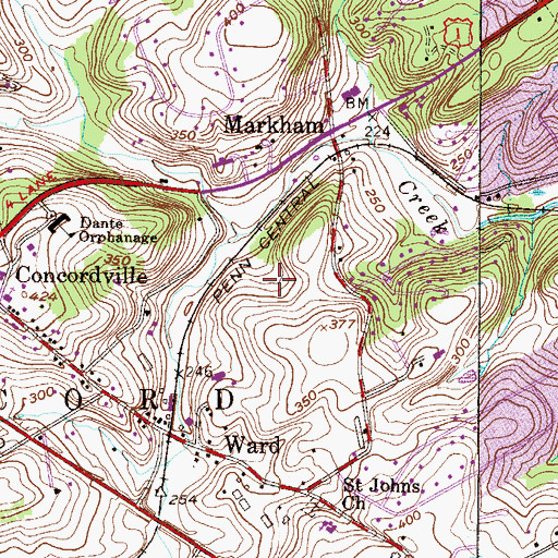 Topographic Map of Newlin Grist Mill Park, PA