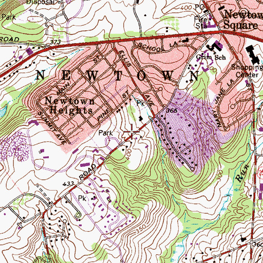 Topographic Map of Newtown Township Building, PA