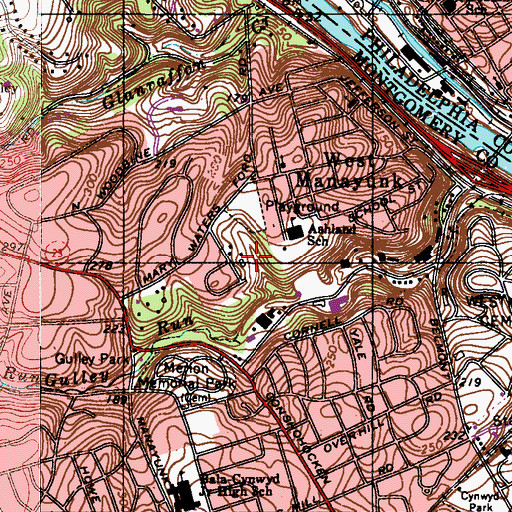 Topographic Map of McMoran Park, PA