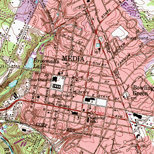 Topographic Map of Media Borough Hall, PA