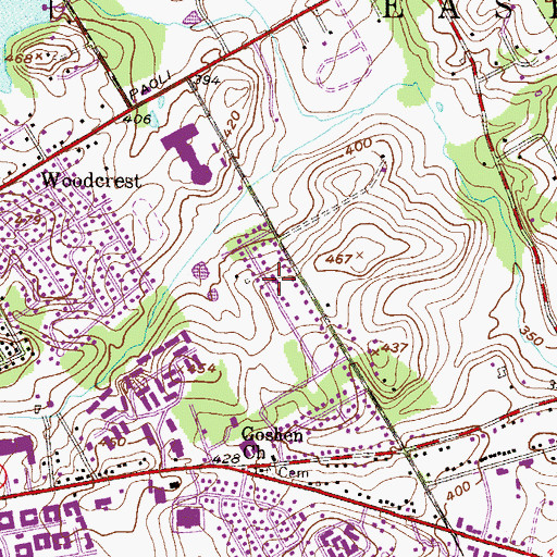 Topographic Map of Meriweather Farms, PA