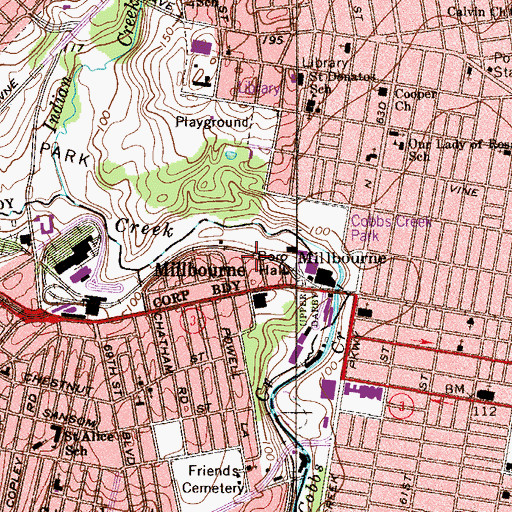 Topographic Map of Millbourne Station, PA