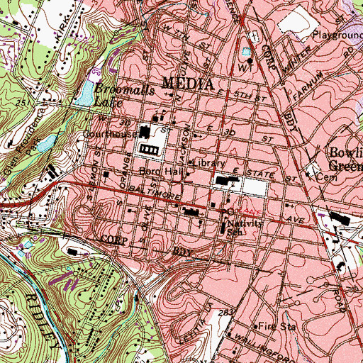 Topographic Map of Monroe Street Station, PA
