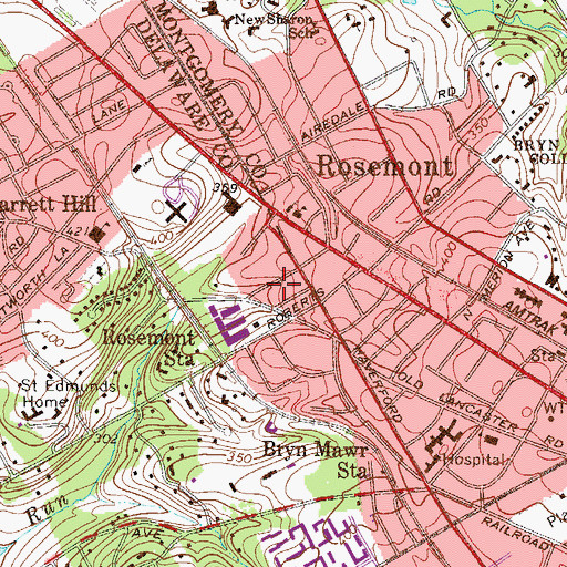 Topographic Map of Montrose Village, PA