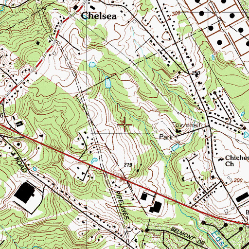 Topographic Map of Naamans Creek Center, PA
