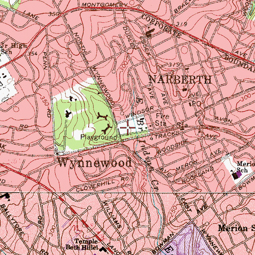 Topographic Map of Narbrook Park, PA
