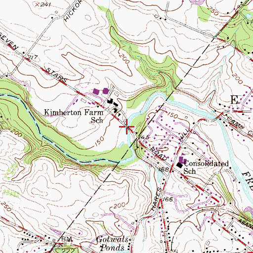 Topographic Map of Kennedy Covered Bridge, PA