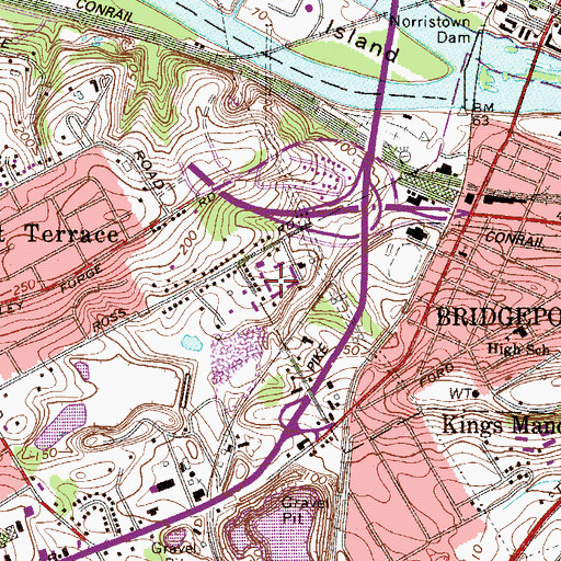 Topographic Map of King of Prussia Business and Industrial Center, PA