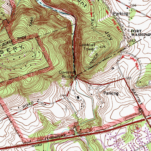 Topographic Map of Knox-Valley Forge Dam Covered Bridge, PA