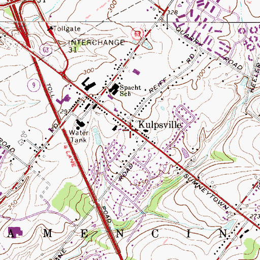Topographic Map of Kulpsville Post Office, PA