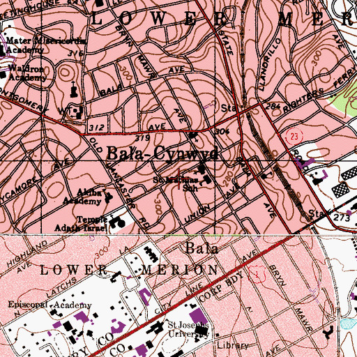 Topographic Map of Latches Lane, PA