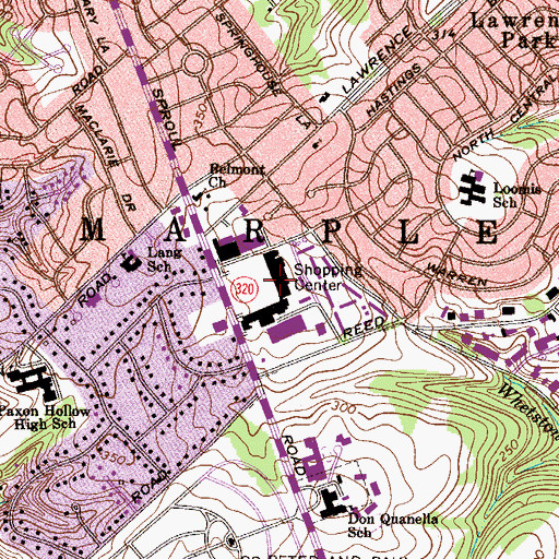 Topographic Map of Lawrence Park Shopping Center, PA