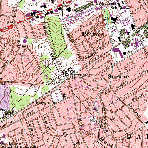 Topographic Map of Secane Station, PA