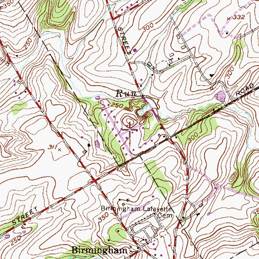 Topographic Map of Serpentine Acres, PA