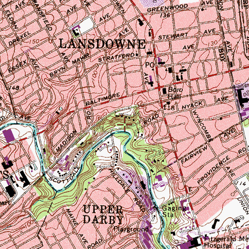Topographic Map of Shrialey Park, PA