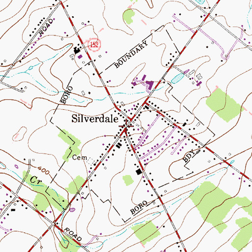 Topographic Map of Silverdale Volunteer Fire Company Station 59, PA