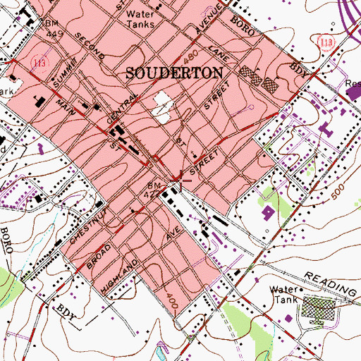 Topographic Map of Souderton CS Collaborative School, PA