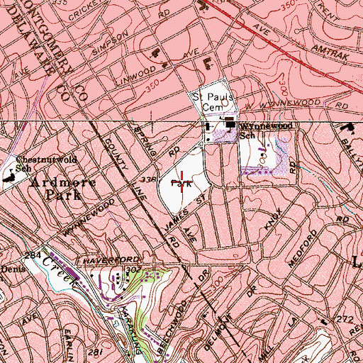 Topographic Map of South Ardmore Park, PA