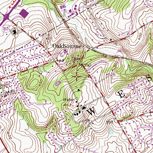 Topographic Map of Oakbourne Park, PA