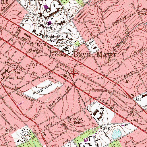Topographic Map of Our Mother of Good Council School, PA