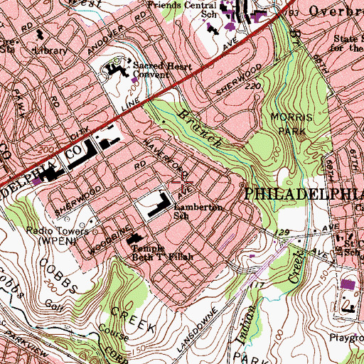 Topographic Map of Overbrook Park Branch Library Free Library of Philadelphia, PA