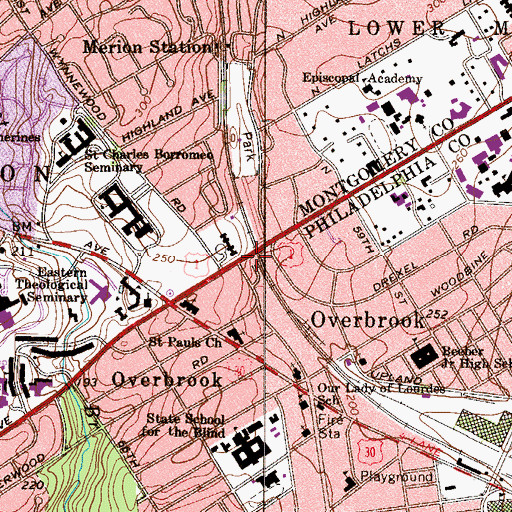Topographic Map of Overbrook Station, PA