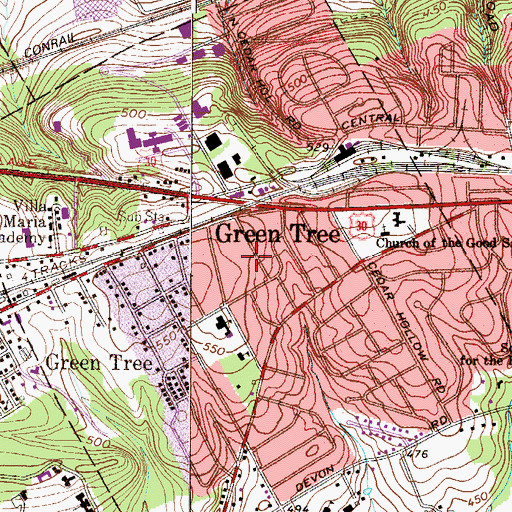 Topographic Map of Paoli Manor, PA