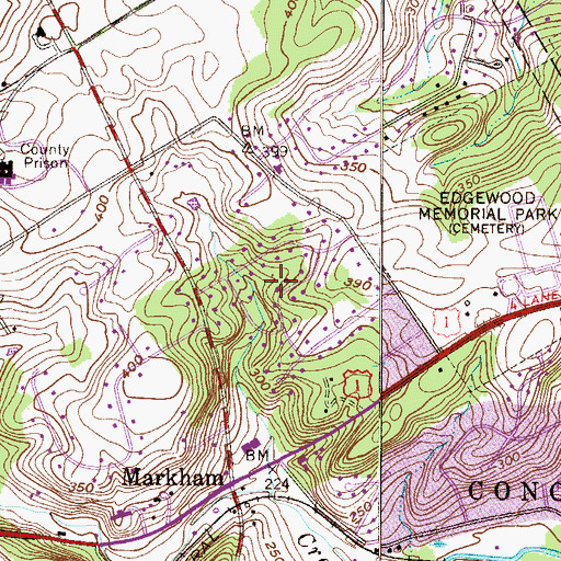 Topographic Map of Park Woods, PA