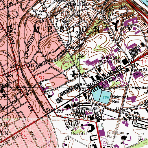 Topographic Map of Parkway Day School, PA