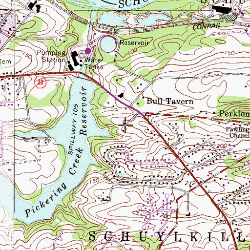Topographic Map of Pawling Woods, PA
