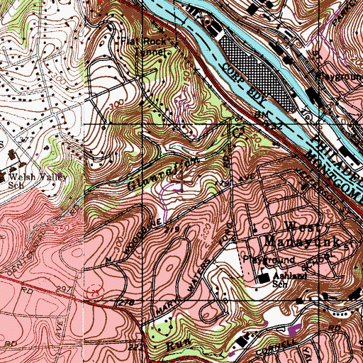 Topographic Map of Pencoyd Park, PA