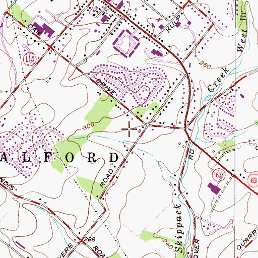 Topographic Map of Penn Oak Manor, PA