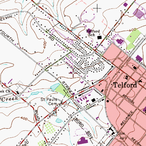 Topographic Map of Penn Valley Grace Brethren Church, PA