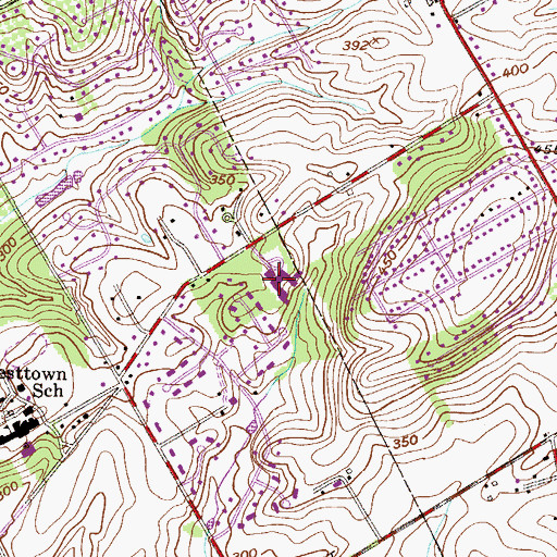 Topographic Map of Penn Wood Elementary School, PA