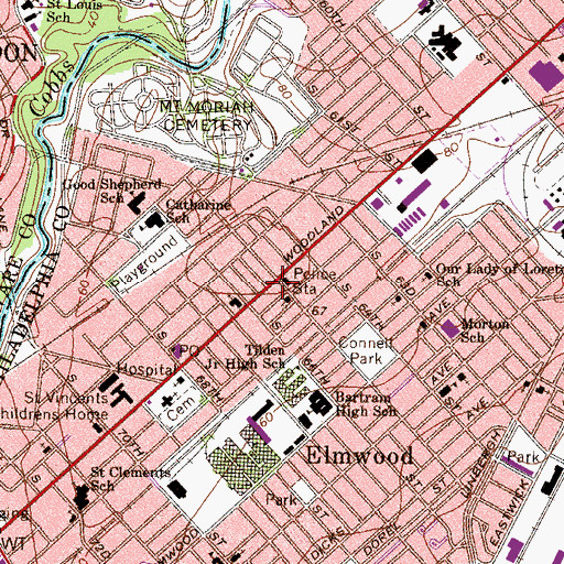 Topographic Map of Philadelphia District 12 Police Department, PA