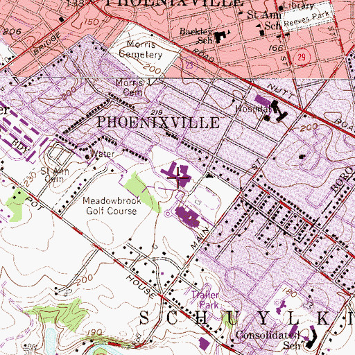 Topographic Map of Phoenixville Area High School, PA