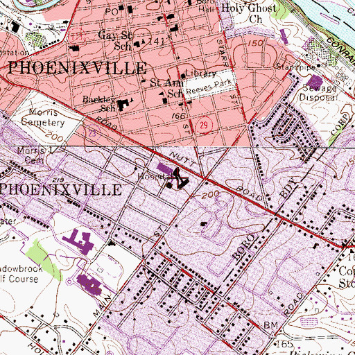 Topographic Map of Phoenixville Hospital, PA