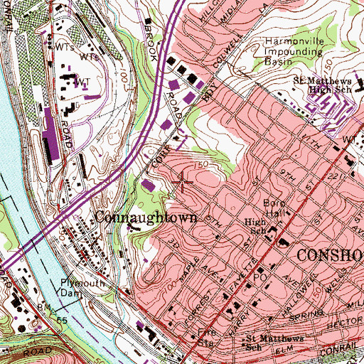 Topographic Map of Pleasant Valley Homes, PA