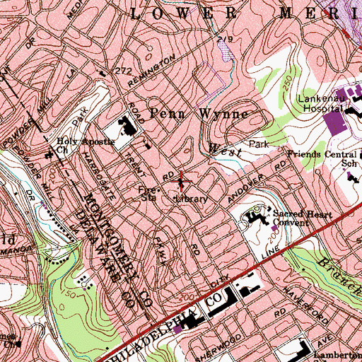 Topographic Map of Presentation Blessed Virgin Mary School, PA