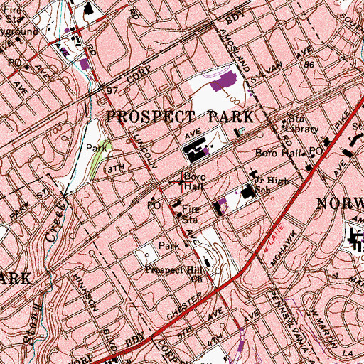 Topographic Map of Prospect Park Borough Hall, PA