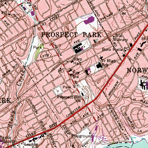 Topographic Map of Prospect Park Fire Company Station 8, PA