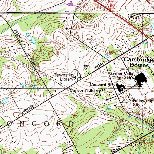 Topographic Map of Rachel Kohl Community Library, PA