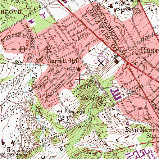 Topographic Map of Radnor Methodist Church, PA
