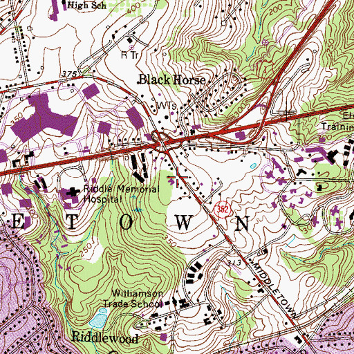 Topographic Map of Riddle Glen, PA